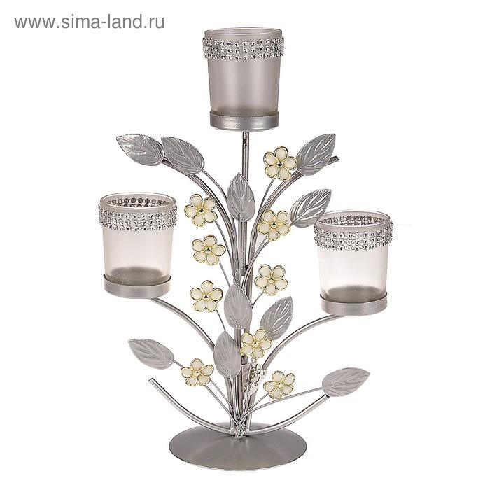 """Подсвечник на 3 свечи """"Цветочки"""", цвет серебристый"""