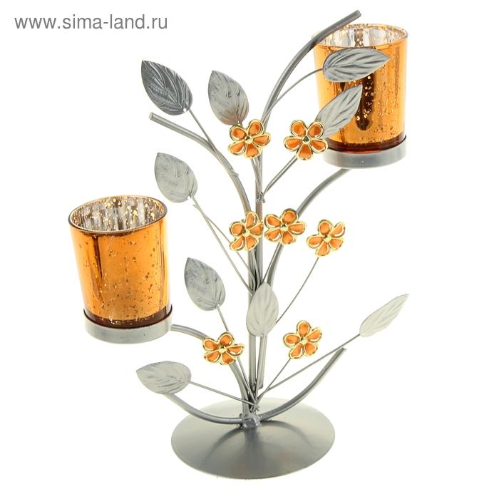 """Подсвечник на 2 свечи """"Цветочки"""", цвет золотистый"""