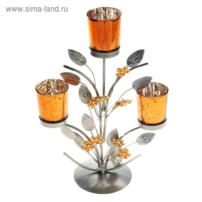 """Подсвечник на 3 свечи """"Цветочки"""", цвет золото"""