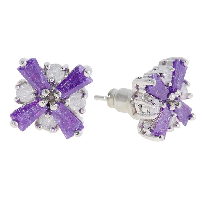 """Серьги """"Циркон"""" royal, крест, цвет фиолетовый"""