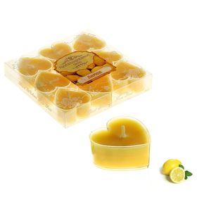 """Свечи восковые плавающие (набор 9 шт) """"Сердце"""", аромат лимон"""