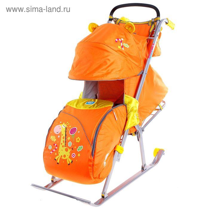 """Санки-коляска """"Ника Детям 5 - жираф"""" с колёсами, цвет оранжевый"""