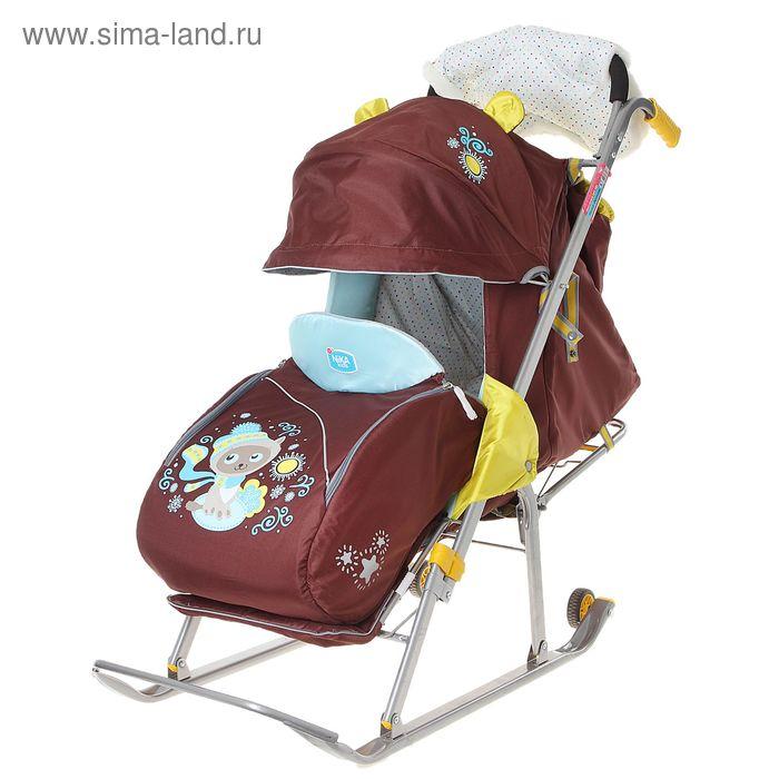 """Санки-коляска """"Ника Детям 5 - котенок"""" с колесами, цвет кирпичный"""