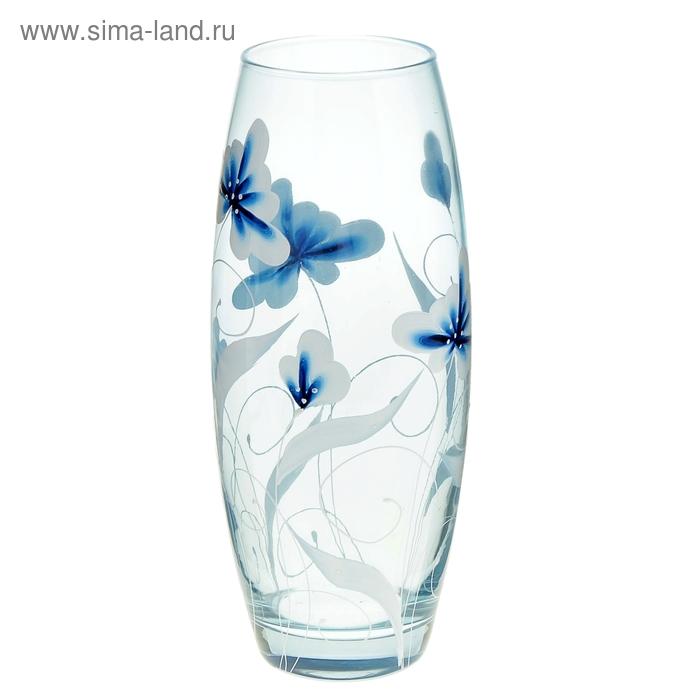 """Ваза """"Синие цветы"""" овальная"""