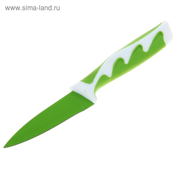 """Нож с антиналипающим покрытием """"Волна"""", ручка soft-touch, лезвие 9 см, зеленый"""