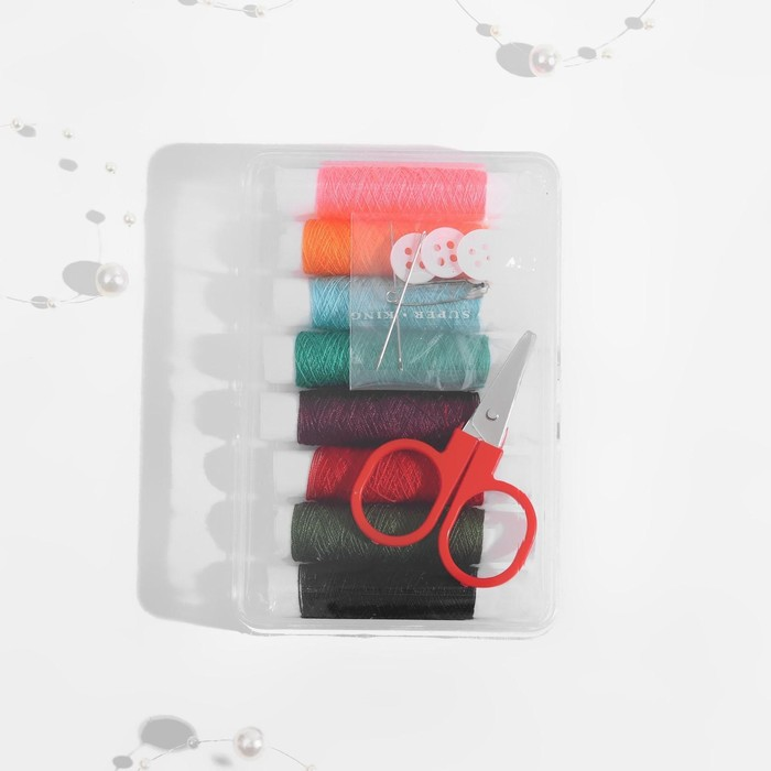Набор для шитья в пластиковой коробке, 12 предметов