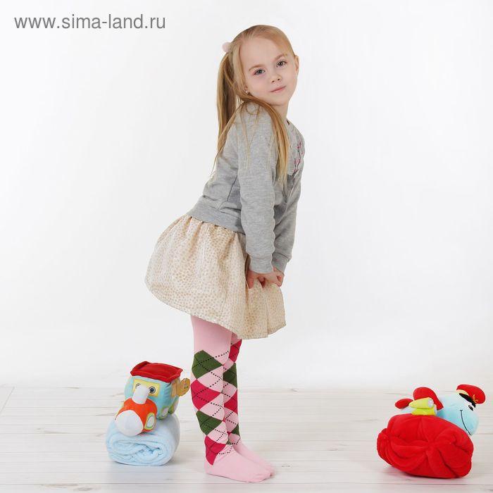 """Детские колготки """"Геометрия"""", 3-4 г, 98-104 см, 80% хл.15% п/э, 5% спандекс, цвет розовый"""