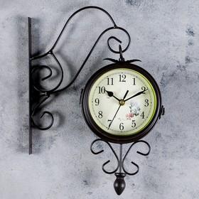 """Часы настенные двусторонние """"Серия Ретро. Весеннее настроение"""" на подвесе, d=14,5 см"""