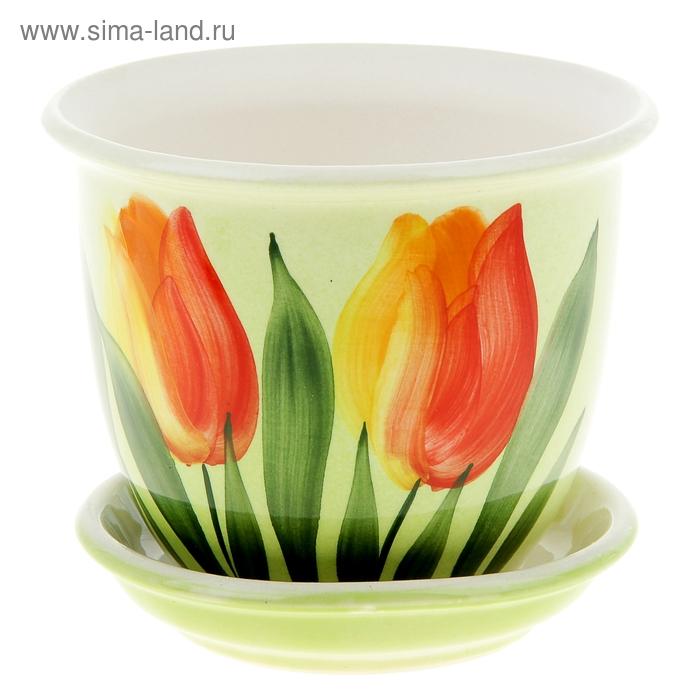 """Кашпо """"Классик"""" тюльпан, красное, 0,5 л"""