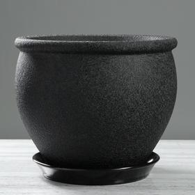 "Кашпо ""Вьетнам"" шёлк, чёрное, 10 л"