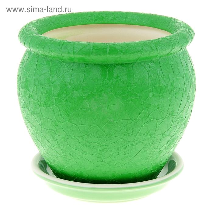 """Кашпо """"Вьетнам"""" шёлк, зелёное, 1,5 л"""