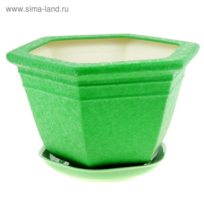 "Кашпо ""Греция"" шёлк, зелёное, 6 л"