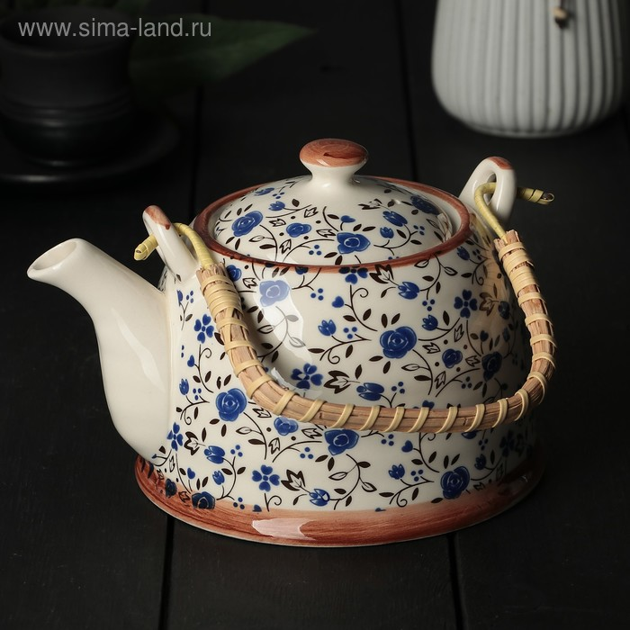 """Чайник заварочный 600 мл """"Виньетки"""", цвет синий"""