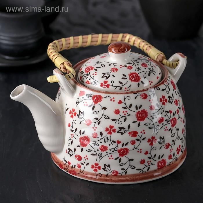 """Чайник заварочный 600 мл """"Виньетки"""", цвет розовый"""