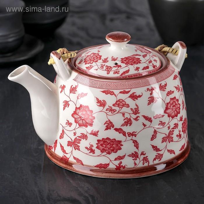 """Чайник заварочный 900 мл """"Розовый куст"""", цвет красный"""