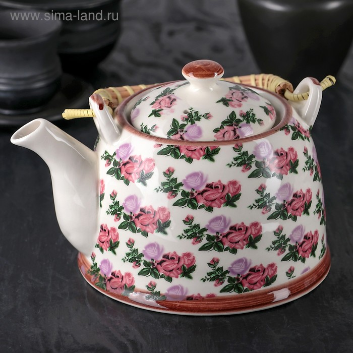 """Чайник заварочный 900 мл """"Розовый букет"""""""