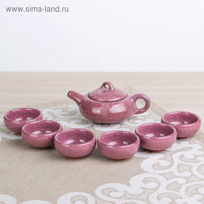"""Набор для чайной церемонии 7 предметов """"Лунный камень"""" сирень (чайник 150 мл, чашка 50 мл)"""