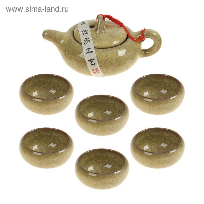 """Набор для чайной церемонии 7 предметов """"Лунный камень"""" золото (чайник 150 мл, чашка 50 мл)"""