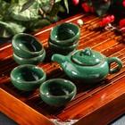 """Набор для чайной церемонии """"Лунный камень"""", 7 предметов: чайник 150 мл, чашки 50 мл, цвет зеленый"""