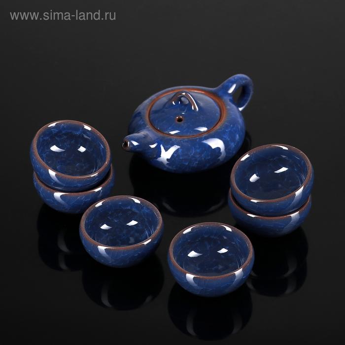 """Набор для чайной церемонии 7 предметов """"Лунный камень"""" синий (чайник 150 мл, чашка 50 мл)"""