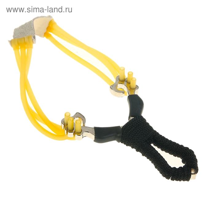 Рогатка, тройной жгут, рукоять в текстильной обмотке, с шариками