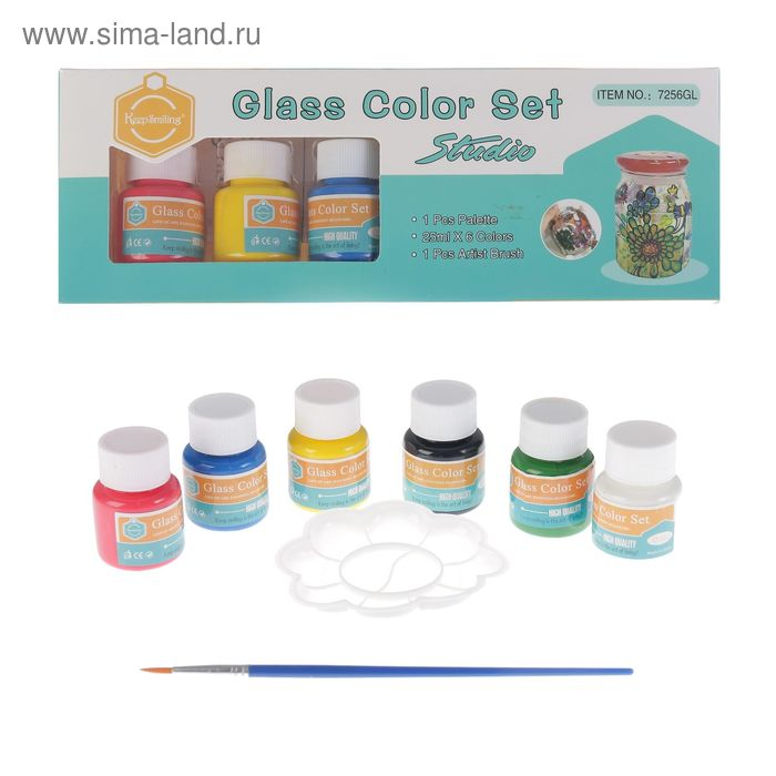 Набор красок по стеклу 6 цветов по 30 мл