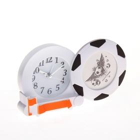 """Будильник """"Футбольный мяч"""" и фоторамка d=6см"""