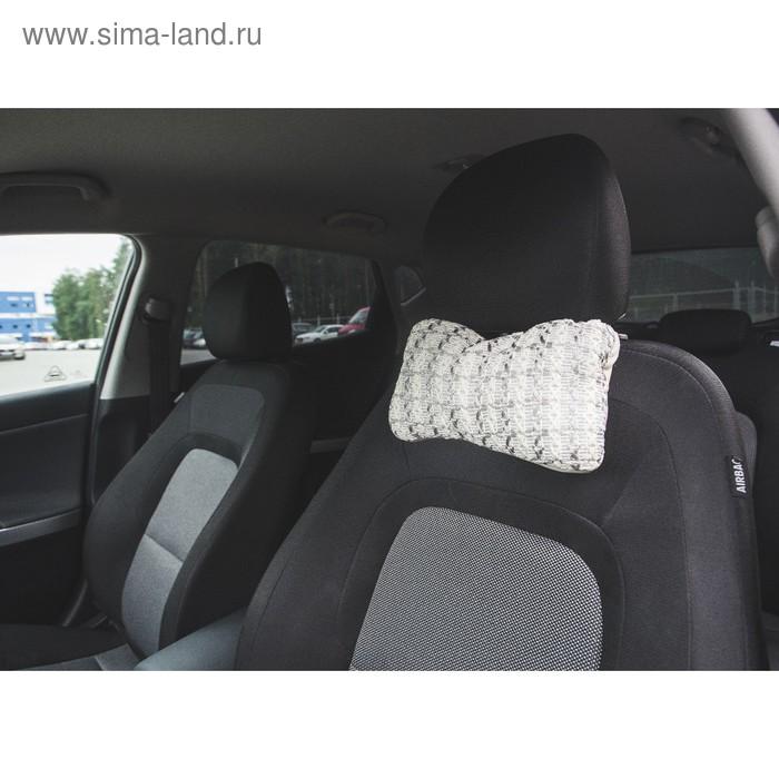 Ортопедическая подушка на подголовник кресла текстиль с рисунком сетка