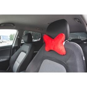 Ортопедическая подушка на подголовник кресла текстиль, красная