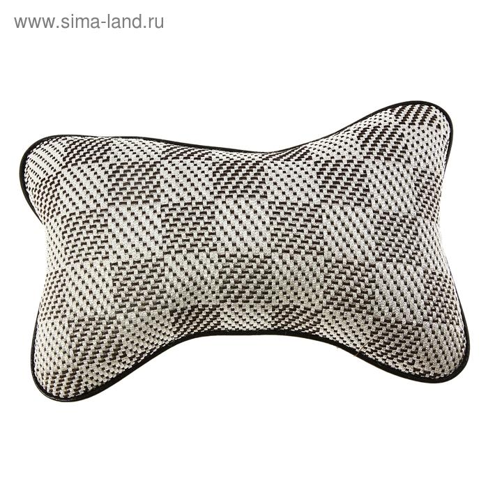 Ортопедическая подушка на подголовник кресла текстиль с окантовкой БЕЖЕВЫЙ