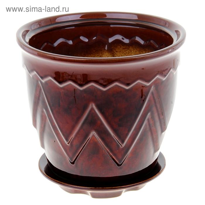 Горшок декоративный Арго №1 6л 22*26см 1сорт коричневый