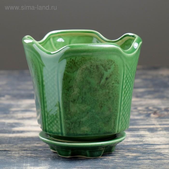 """Кашпо """"Готика"""" зелёное 1,4 л"""