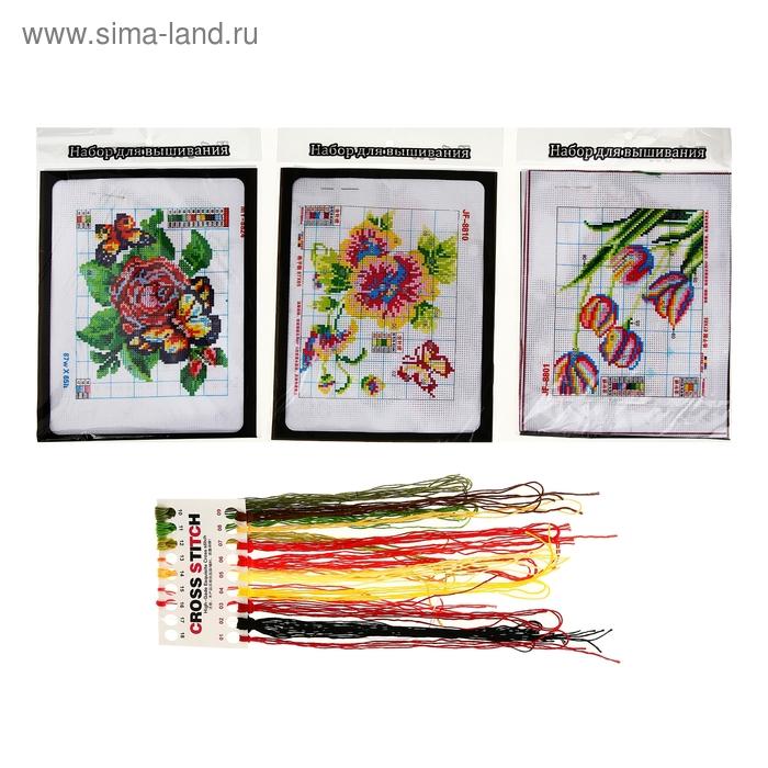 """Набор для вышивания """"Цветы"""", МИКС"""
