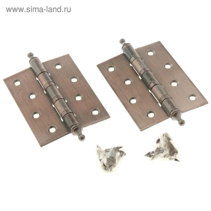 """Петля дверная 100х75х2 мм (2ВВ) с короной (в наборе 2 петли и саморезы), цвет """"медь"""""""