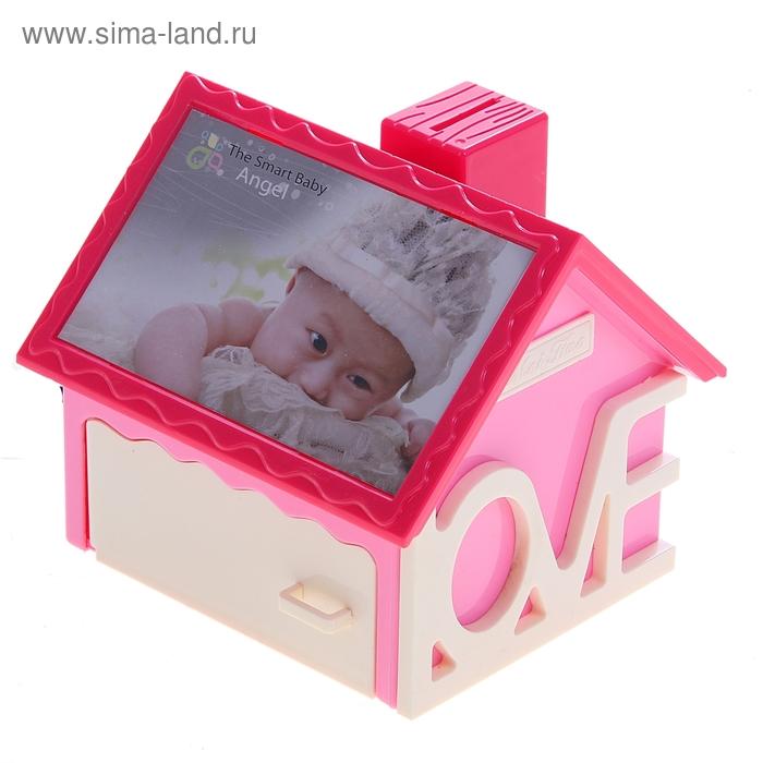 """Ночник детский """"Дом любви"""" с фоторамкой и подставкой для канцелярии, розовый"""