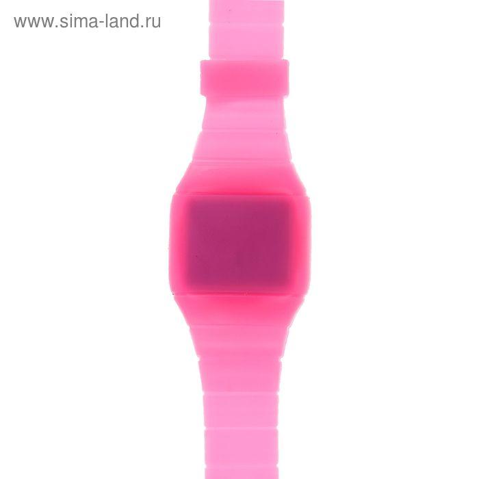 Часы наручные женские электронные на силиконовом ремешке, невидимый циферблат, цвет розовый