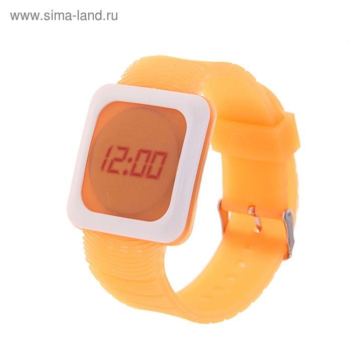 Часы наручные женские электронные, квадратный циферблат, цвет оранжевый