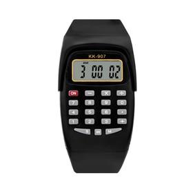 Часы наручные электронные с калькулятором, детские, силиконовый ремешок, микс