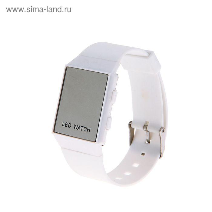 Часы наручные женские электронные с силиконовым ремешком, циферблат квадратный белый