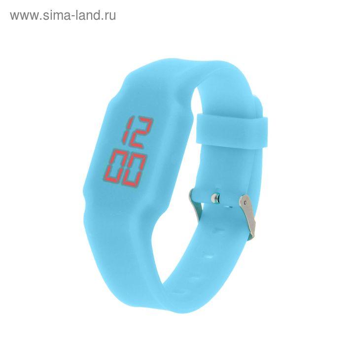 Часы наручные женские электронные влагозащищенные, невидимый циферблат, цвет голубой