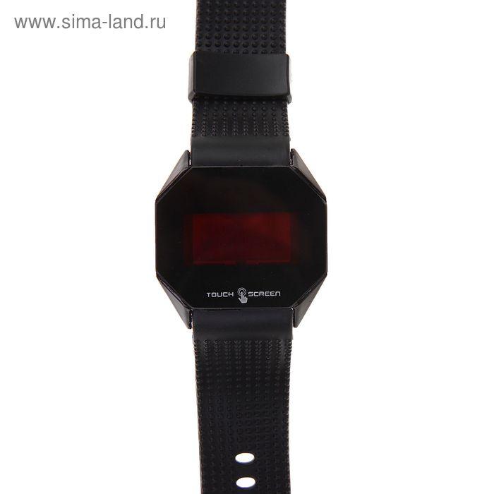 Часы наручные влагозащищенные сенсорные, на силиконовом ремешке, восьмиугольные, цвет черный