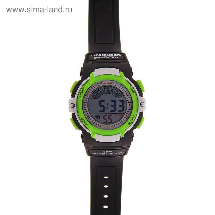 Часы наручные мужские электронные функциональные на силиконовом ремешке, черные с зелеными вставками