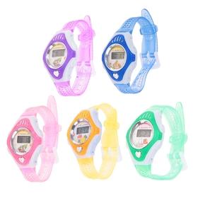 Часы наручные детские, электронные, с силиконовым ремешком прозрачный в клетку, цвета микс Ош