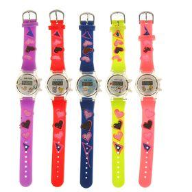 Часы наручные электронные «Звёздочки сердечки», детские, с силиконовым ремешком, микс