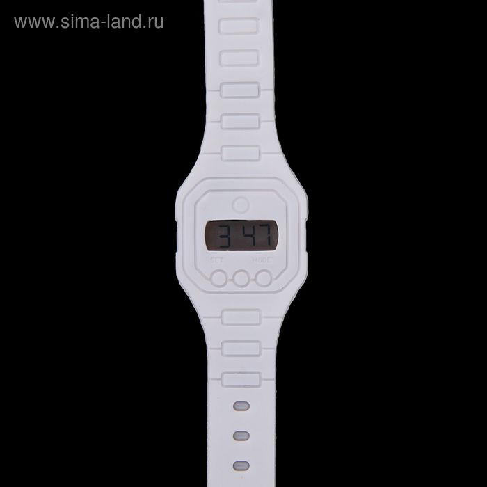 Часы наручные женские электронные влагозащищенные на силиконовом ремешке, цвет белый