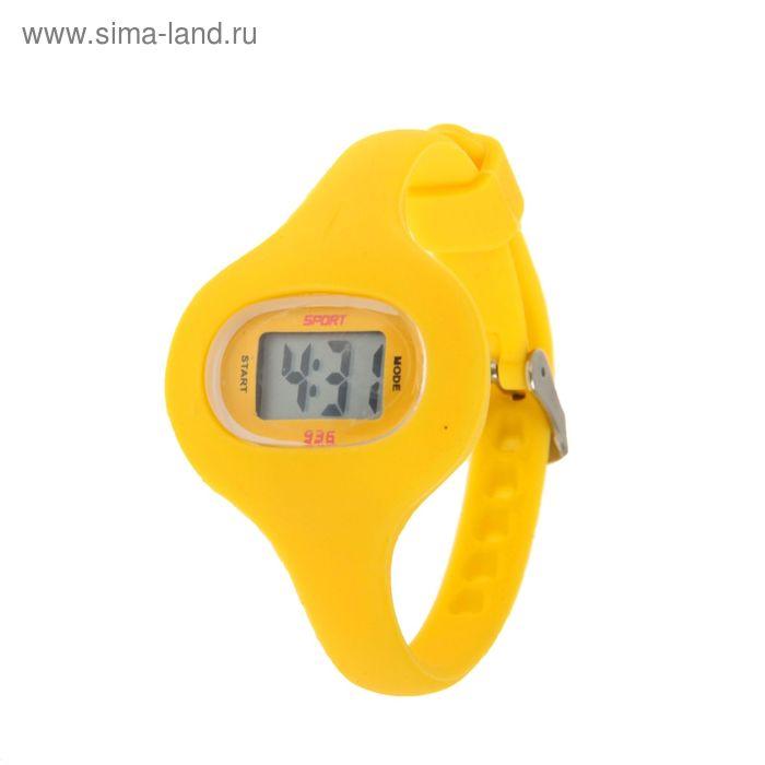 Часы наручные женские электронные влагозащищенные на тонком ремешке, цвет желтый