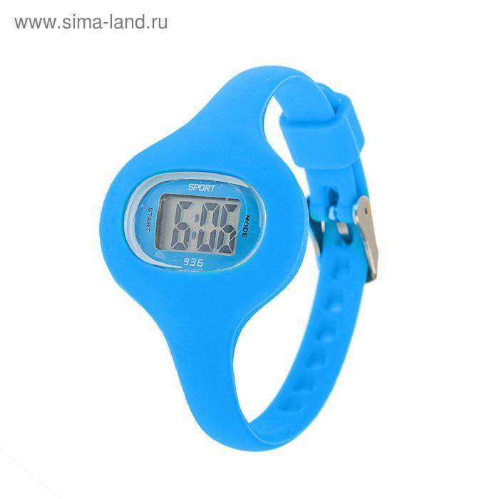 Часы наручные женские электронные влагозащищенные на тонком ремешке, цвет синий
