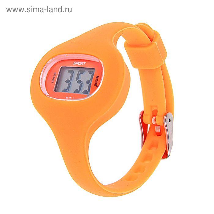 Часы наручные женские электронные влагозащищенные на тонком ремешке, цвет оранжевый