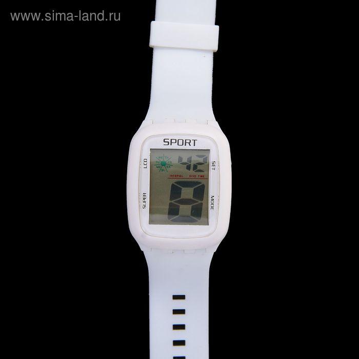 Часы наручные женские электронные влагозащищенные, прямоугольный циферблат, цвет белый