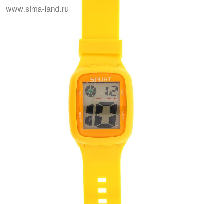 Часы наручные Led влагозащищенные на силиконовом ремешке, цвет желтый